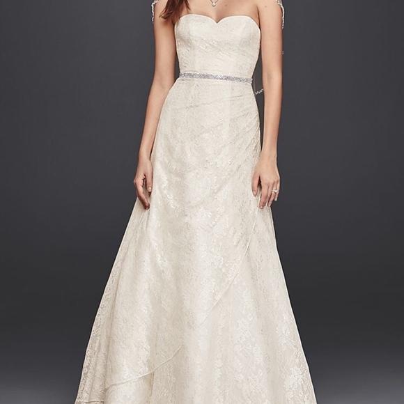 3fe01e897d79 David's Bridal Dresses | Allover Lace Aline Strapless Wedding Dress ...